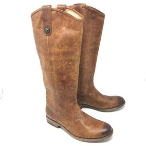 New Frye Melissa Button Boot Cognac Washed Antique